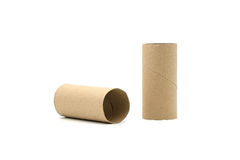 Paper tube of toilet paper. Isolated on white background Royalty Free Stock Photography