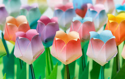 Paper tulips field. Colourful paper tulips field. Shallow depth of field. Focus on the front row stock photography