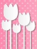 Paper tulips on pink Stock Images