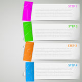 Paper tutorial strips with color stickers Stock Image