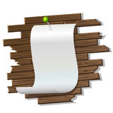 Paper on twe wooden wall. Vector illustration of the paper attached to the wooden wall by the pin Stock Images