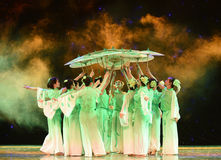 Paper umbrella-The ink of jasmines-The national folk dance. June 10, 2015, the Jiangxi Vocational Academy of Art dance show performance stock image