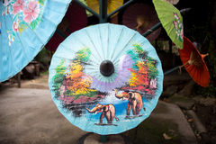 Paper umbrellas , in Chiang Mai , Thailand Royalty Free Stock Photos