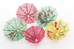 Paper umbrellas for dessert Royalty Free Stock Photo