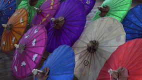 Paper umbrellas stock footage
