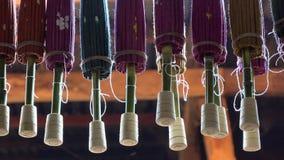 Paper umbrellas for sale. At souvenir shop in Bagan, Myanmar stock video footage