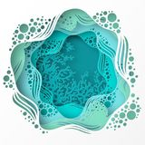 Paper underwater sea cave with coral reef, seabed in algae,. Waves. Paper cut deep style vector.  Deep blue marine life, diving concept. Ocean wildlife. Origami Stock Photo