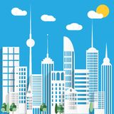 Paper urban city background. Vector illustration Stock Photography