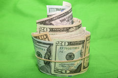 Paper USA bills disarray rubber band green Royalty Free Stock Image