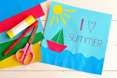 Paper vacation card. Summer camp idea for kids. Stock Images