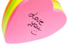 Paper valentine note Royalty Free Stock Photos