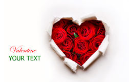 Paper Valentines Heart. With Red Roses Flowers Bouquet Stock Photos
