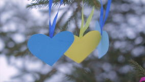 Paper Valentines swaying in the wind stock video footage