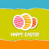 Paper Vector Easter Eggs on Torn Paper Background Stock Photos