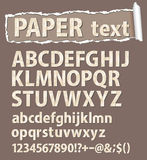 Paper vector font. Letters, numbers and orthograph Stock Image