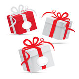 Paper Vector Gift Box Set. Silver and Red Isolated on White Background Royalty Free Stock Images