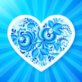 Paper vector heart with Russian gzhel ornament Royalty Free Stock Photo
