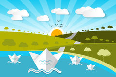 Paper Vector Nature Background with Lake Royalty Free Stock Photos