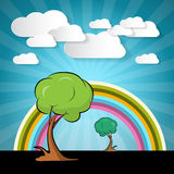 Paper Vector Nature Background with Trees Royalty Free Stock Photography