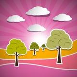 Paper Vector Nature Pink Landspe Stock Image