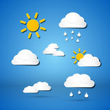 Paper Vector Weather Icons Royalty Free Stock Image