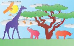 paper vektor för africa djur stock illustrationer