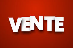 Paper vente sign. White vente sign over red background. Vector sale illustration Royalty Free Stock Images