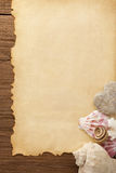 Paper vintage background and sea shells Stock Image