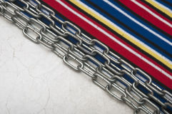 Paper vintage and metal chain Royalty Free Stock Image