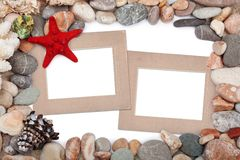 Paper Vintage photo frame with red starfish Royalty Free Stock Photos