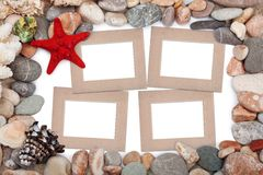 Paper Vintage photo frame with red starfish Royalty Free Stock Images