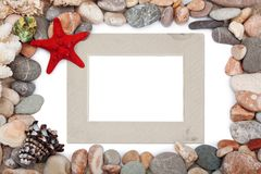Paper Vintage photo frame with red starfish Stock Photography