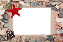 Paper Vintage photo frame with red starfish Stock Photos