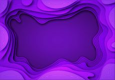 From the paper violet shades with smooth transitions and dark lines are cut out. Place for ad announcement. abstract art. Of carving. Vector illustration royalty free illustration