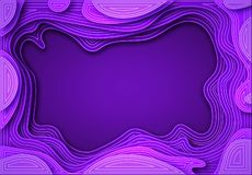From the paper violet shades with smooth transitions and white lines. are cut out. Place for ad announcement. abstract. Art of carving. Vector illustration stock illustration