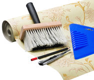 Paper wallpaper and tools Royalty Free Stock Photo