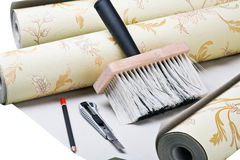 Paper wallpaper and tools Royalty Free Stock Image
