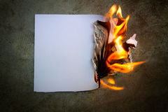 Paper was a fire burning Stock Photo