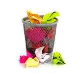 Paper in waste basket Royalty Free Stock Images
