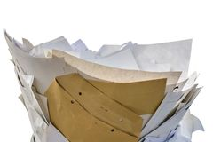 Paper waste in front of white background royalty free stock photography