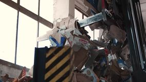 Paper waste in the garbage dump, Debica, Poland, 24/06/2019. Video shows of paper waste in the garbage dump, Debica, Poland, 24/06/2019 stock footage