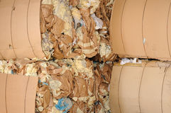 Paper waste. Pressed paper packaging waste material from industrial production for recycling royalty free stock photos