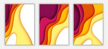 Paper wave layer with autumn color abstract background. Paper cut of vertical A4 cover design for business banner template and material design.Vector Stock Illustration
