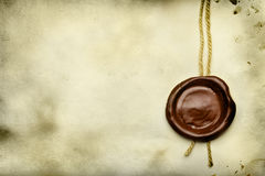 Paper with wax seal. Old paper with wax seal close up royalty free stock images