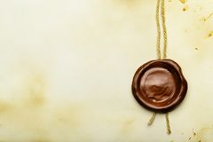 Paper with wax seal Stock Photography