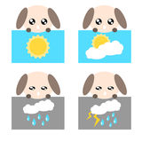 Paper weather dog icon illustration Royalty Free Stock Photo