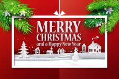 Paper web banner and realistic branches. Paper cut and craft Christmas applique background with realistic christmas tree branches. Landscape with houses, snowman Stock Images