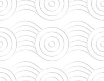 Paper white circles on bulging ribbon. White paper background. Seamless patter with cut out paper effect. Realistic shadow creates 3D modern texture.Paper white Royalty Free Stock Photo