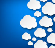 Paper white clouds on blue Vector Illustration