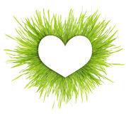 Paper white heart on green grass Royalty Free Stock Image